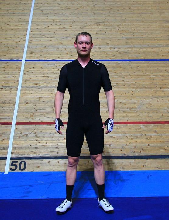 Tom, yet again, on BikeRadar wearing a one-piece suit.