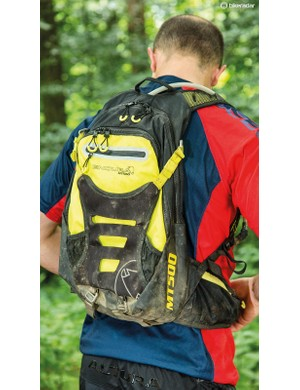 Chest and waist straps secure the backpack