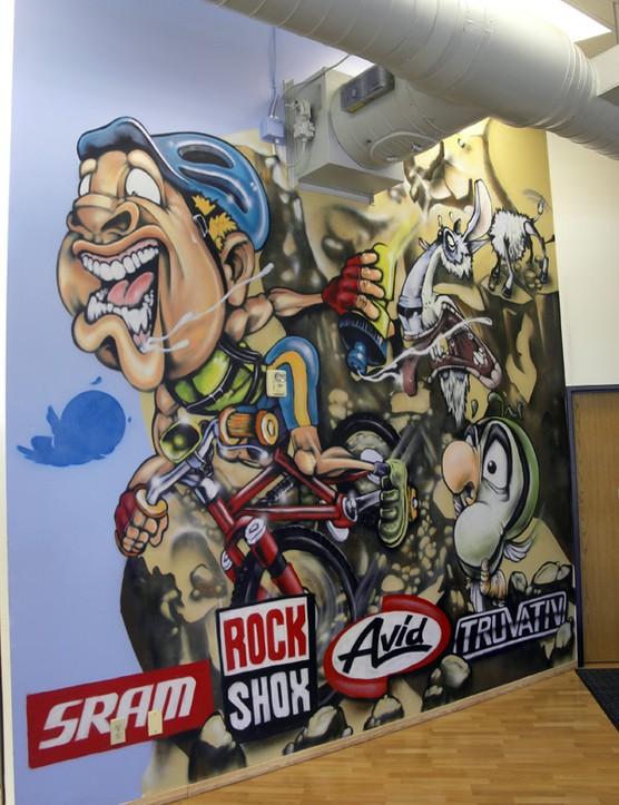 This mural welcomes you as you enter SRAM's Colorado Springs development centre.