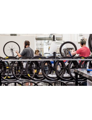 ENVE hand builds 130,000 rims a year, the company says, with most of those built into full wheelsets