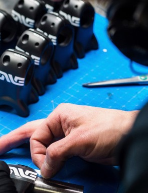 Putting the finishing touches on a mountain bike stem