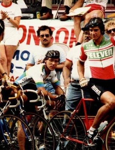Eric Heiden racing his Ritchey road bike in the early 1980s for 7-Eleven.