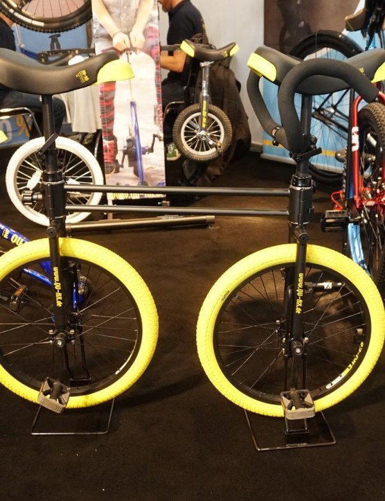 Because what the world needs now is a tandem unicycle. Or is that a bicycle?