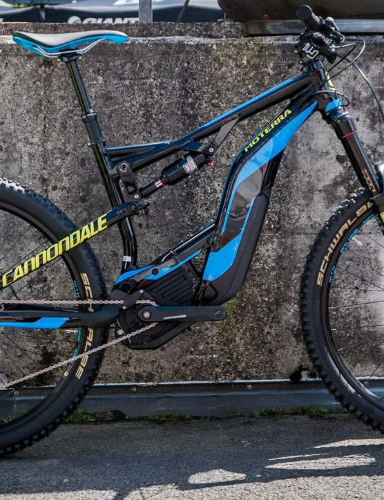 The e-MTB market is really heating up. This is the new Cannondale Moterra LT, which has 160mm of bounce at either end and a Bosch motor