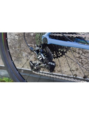 SRAM's new Apex 1 fitted to a Cannondale Slate. The derailleur bears a strong resemblance to the NX MTB one, albeit with a more road-style cable entry