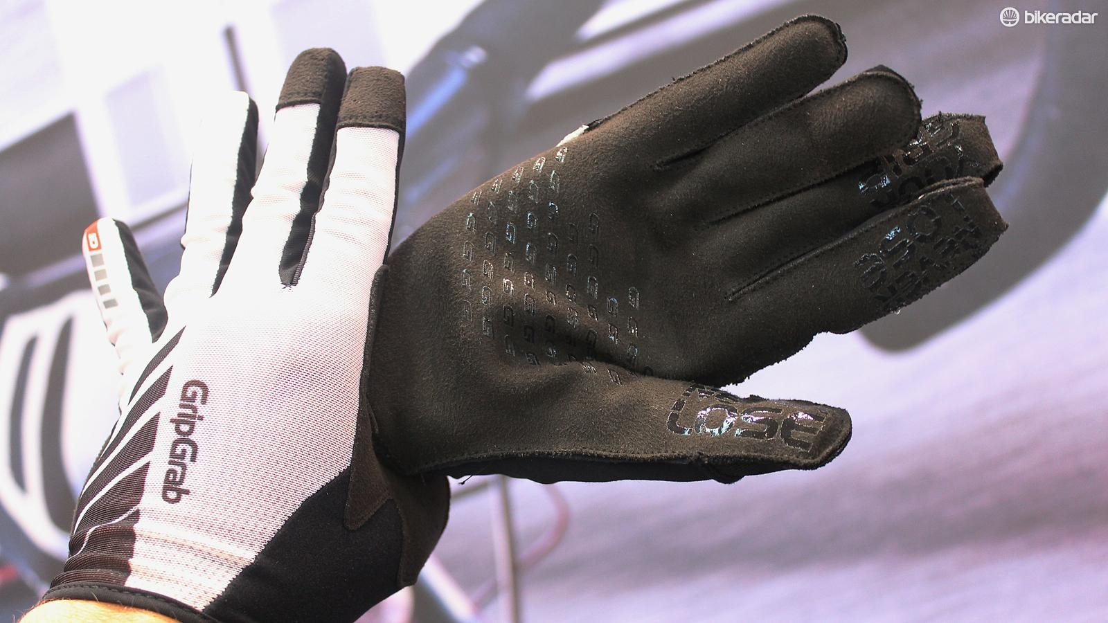 The Racing gloves have silicone dots on the inside of the palm as well as on the outside