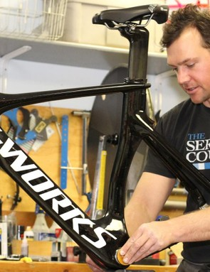 Daimeon Shanks, owner of The Service Course, carefully tuned and rebuilt Stevens' two bikes