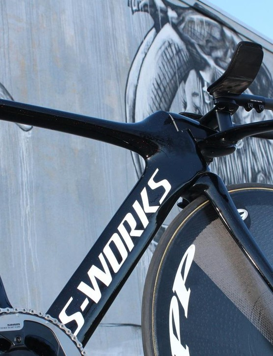 Stevens is riding a custom version of the Specialized S-Works Shiv TT