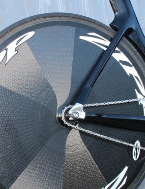 The Shiv TT was modified —there is no derailleur hanger
