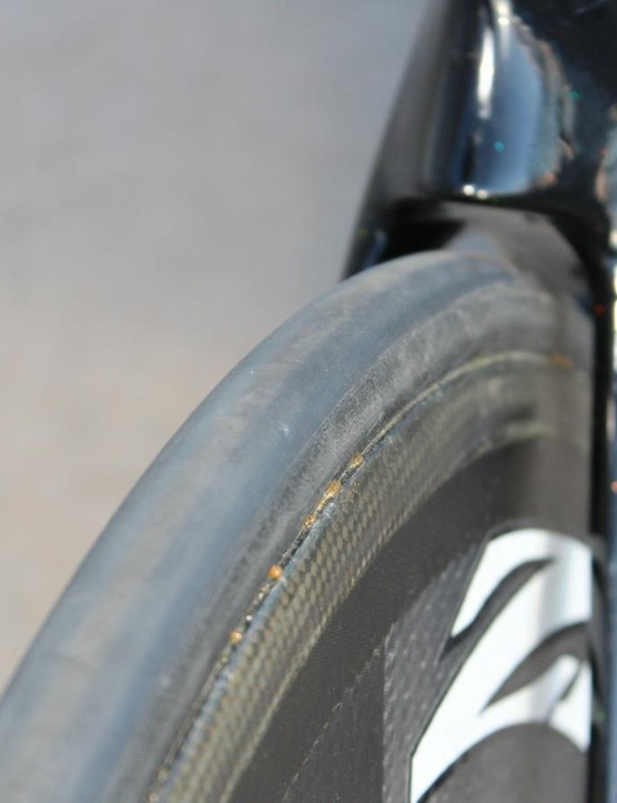 Stevens' bikes have 23mm rear and 19mm front tubulars