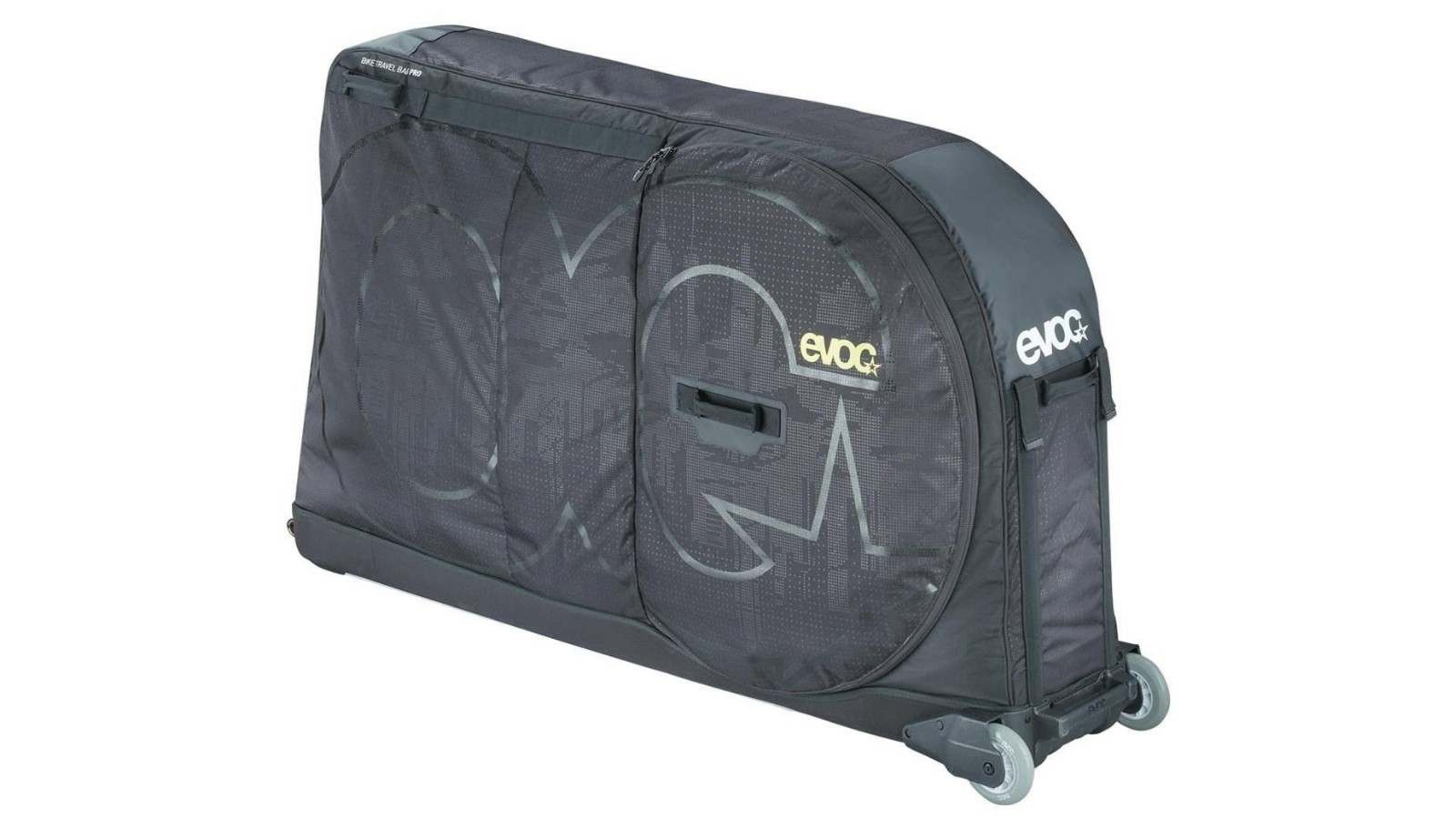 The Evoc Bike Travel Bag Pro packs small, is light, and is easy rolling