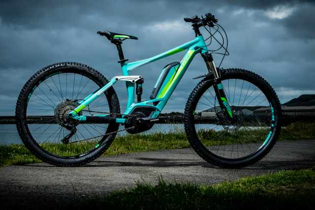 The Cube Sting WLS Hybrd 120 women's electric mountain bike