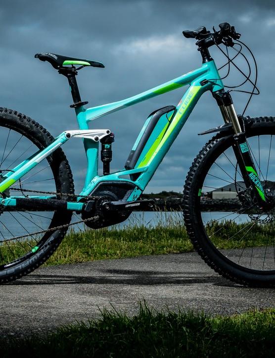 The Cube Sting WLS Hybrd 120 women's electric mountain bike