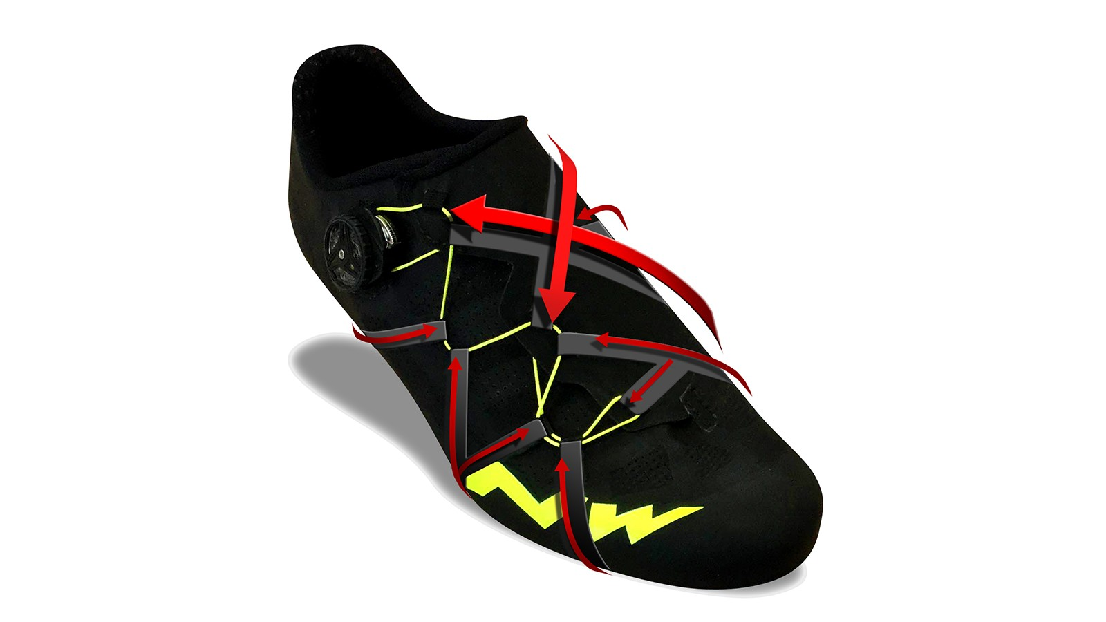 The XFrame wraps all the way around the foot for a secure fit with no pressure points