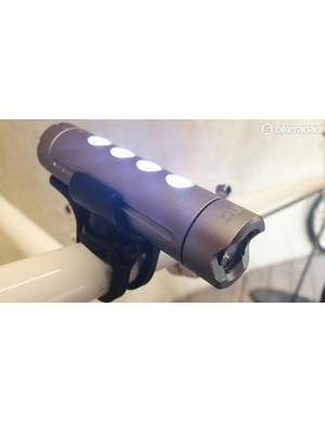 The FL300 can be either a 300 lumen beam front light, or a four-LED commuting light and switch to a red mode too