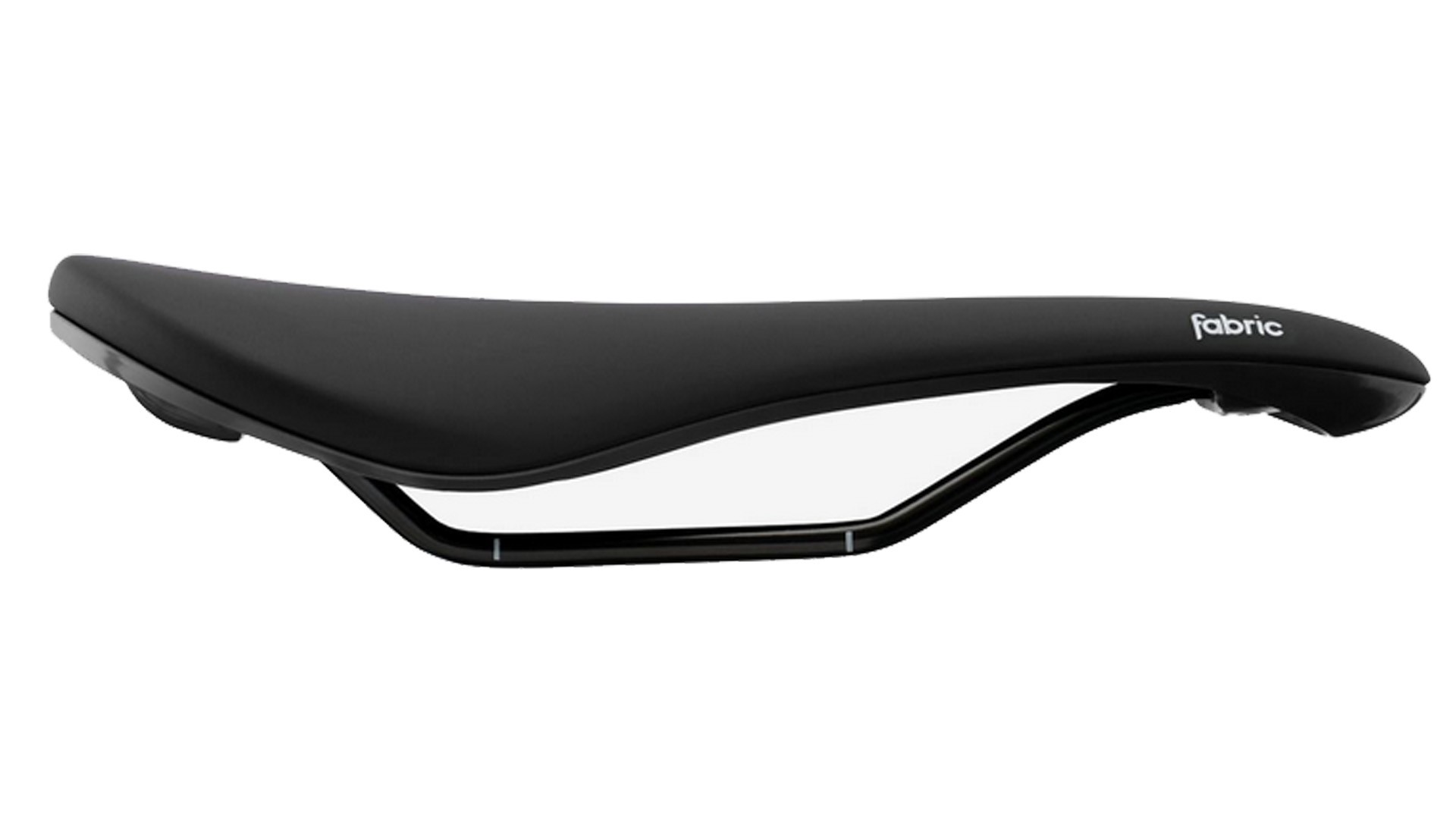 Fabric's popular Scoop saddle in black with white logo detail