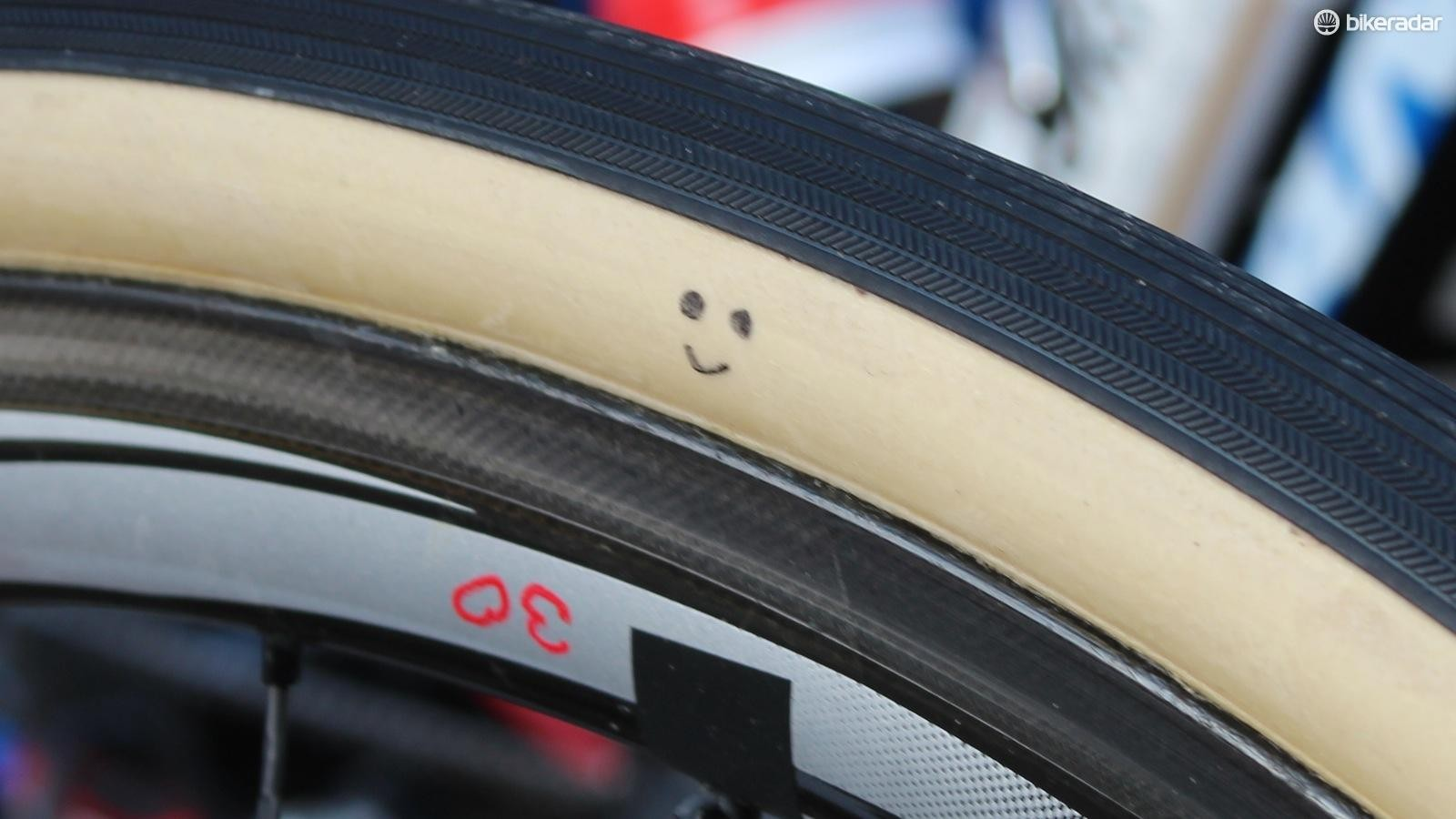 Team Giant-Alpecin ran 30mm Vittoria tubulars at Paris-Roubaix. The team edition 30mm tubulars were marked with this simple smile