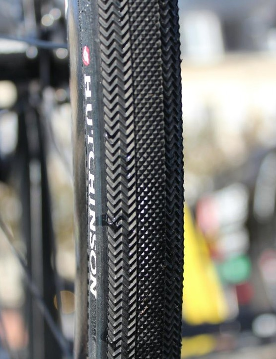 An aggressive tread on the 28mm Hutchinson tubulars of Direct Energie, which raced on disc brakes