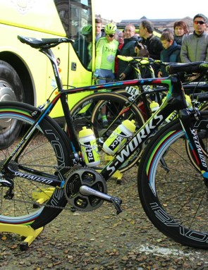 Peter Sagan had two Specialized bikes ready to race: this Tarmac with 26mm tubulars on 64mm wheels, then a Roubaix with 30mm FMB tubulars on 40mm wheels. The plan was to switch after the first ~100km of racing, before the cobbles began