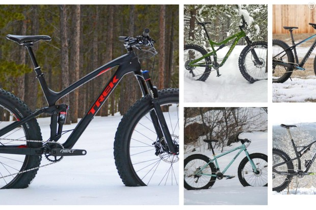 Fat bikes span the gamut from steel rigid hardtails to carbon, full-suspension wonderbikes