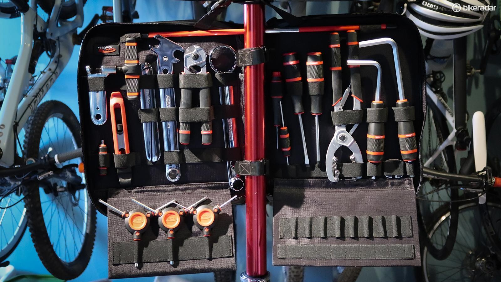 The Team Edition Tool Kit can easily mount to Feedback's repair stands