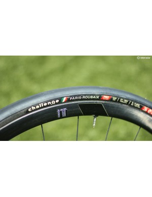 Challenge's 27mm Paris-Roubaix clinchers plumped up to nearly 30mm on these 3T wheel (not spec)