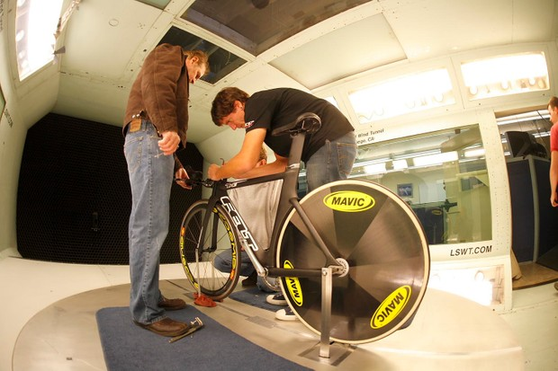 Jim Felt (L) in his element: a wind tunnel.
