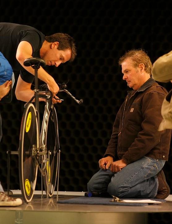 Jim Felt (C) looks for every aerodynamic advantage.