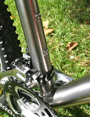 Oversized, gusseted and double butted bi-axial ovalised downtube