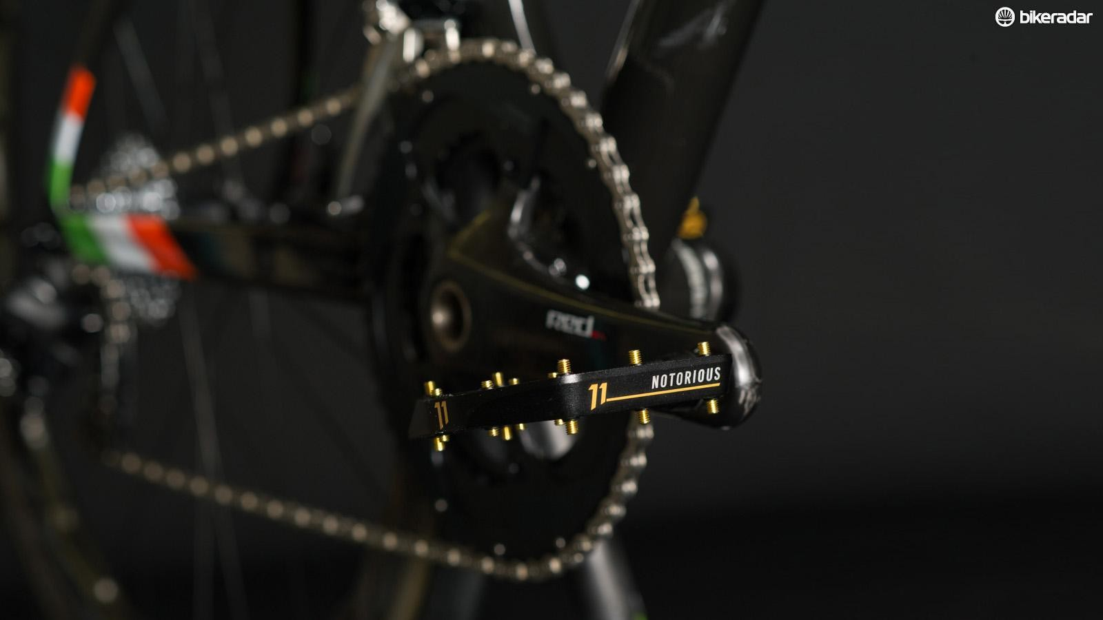 The Crank Brothers flat pedals are custom made to match, McGregor can't use clipless pedals because of an old ACL injury