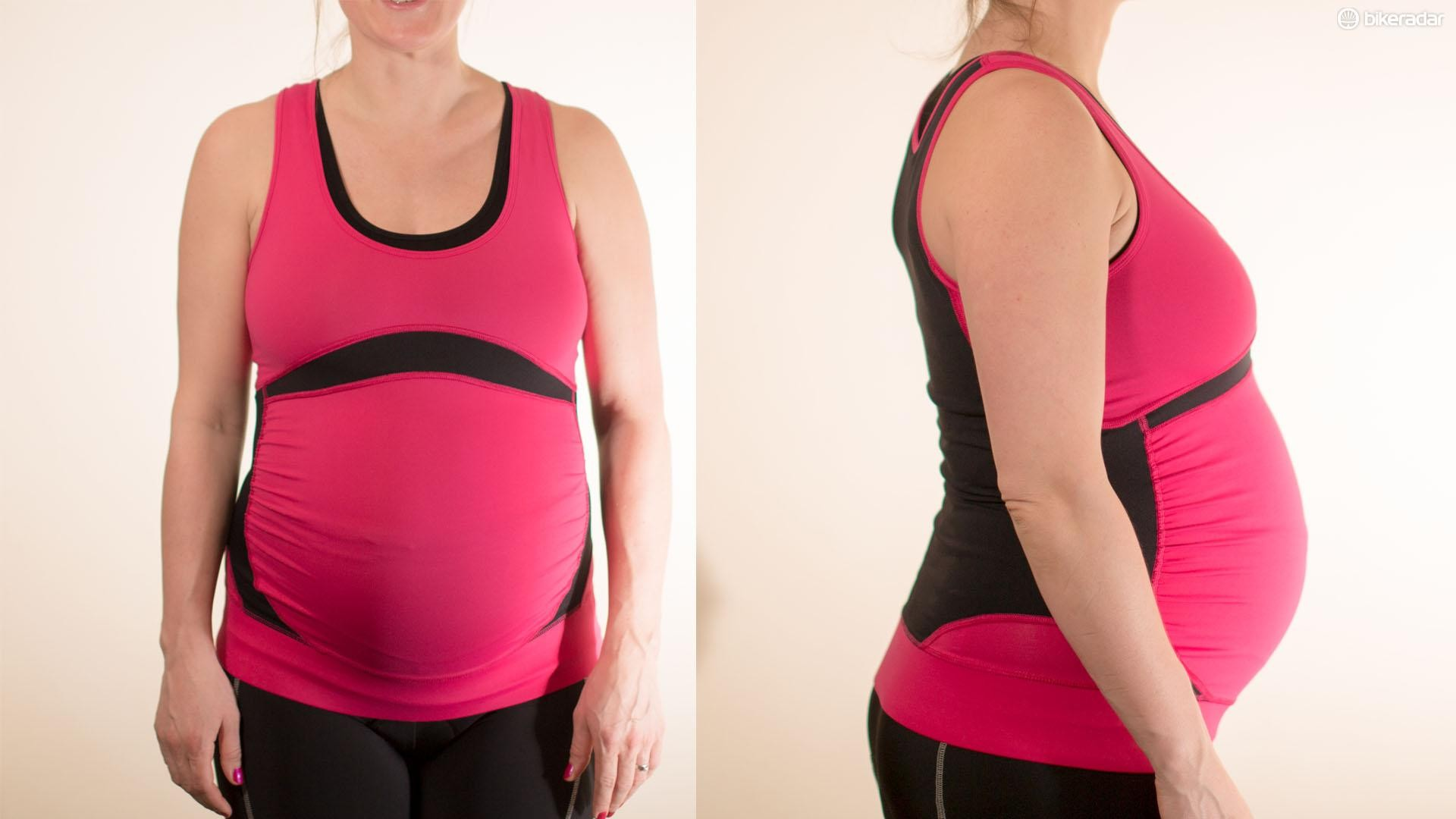 A panneled construction is designed to sit comfortably around your bump