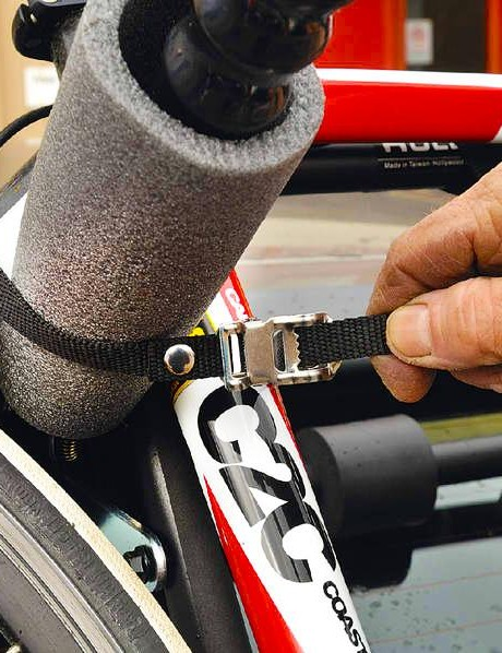 Don't forget to lash your bike to the rack itself, as a double safeguard — toe straps work well