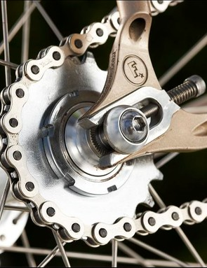 The horizontal dropouts have good adjustment screws and switching from fixed to singlespeed is easy – all you need are a couple of allen keys.