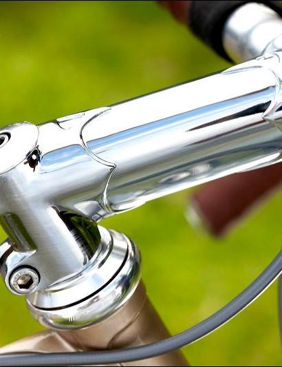 Chromed stem and deep drop bars complete the bike