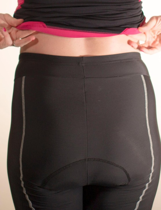 A high waist at the rear keeps the lower back supported and covered