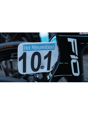 Stannard's race number is also tidy - cut to fit the Pinarello's curves