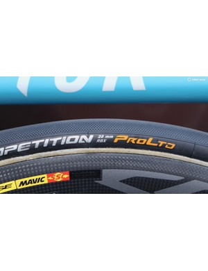 While most riders opted for 25mm tubulars, a few choose 28s, like this Continental Competition RBX