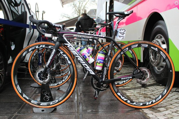 Lampre-Merida made history Sunday as the first WorldTour team to ride all on discs in a major race