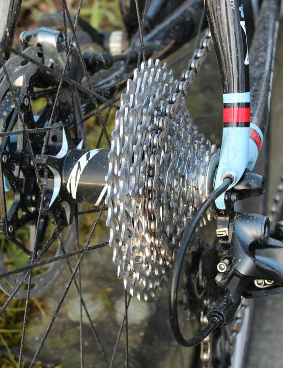 Lots of metal back here: An 11-36 cassette nearly matched the 160mm rotor in diameter