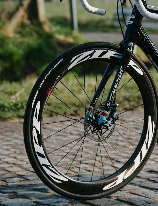 I came away feeling fairly sold on the Zipp 404 Disc wheels. The wide tires are an easy sell for me (More comfort? Yes, please). For me, I'm still not entirely sold on 1x for standard road applications