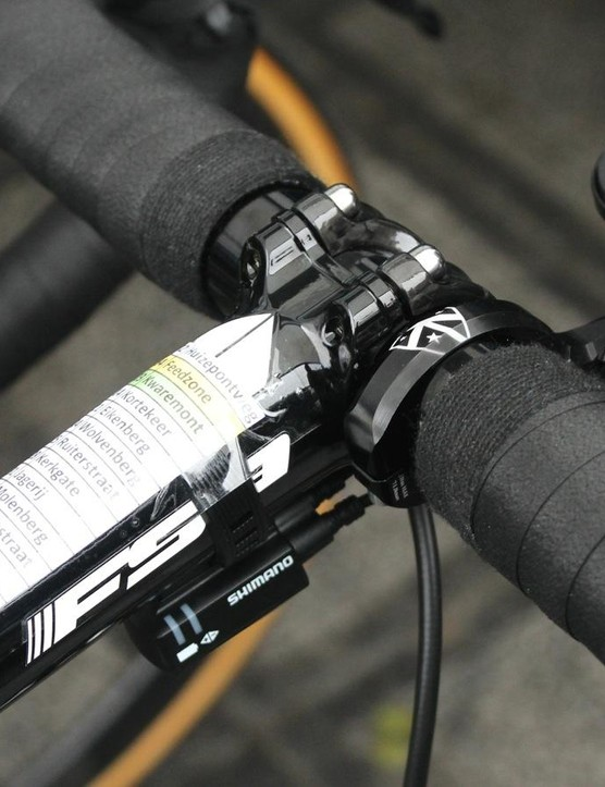 Tom Boonen runs his bar tape right up against the stem