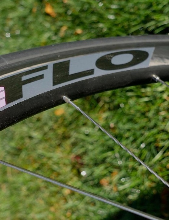 The FLO 45 rim has an angled brake track that is 24mm wide. The rim goes a bit wider below the brake track and the leading/trailing edge of the rim, where the spoke nipples insert is rounded