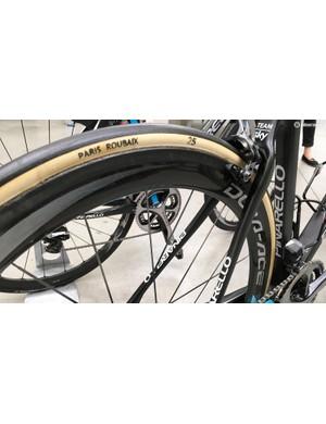 Team Sky use the handmade FMB Paris-Roubaix tubulars during the one-day Classics