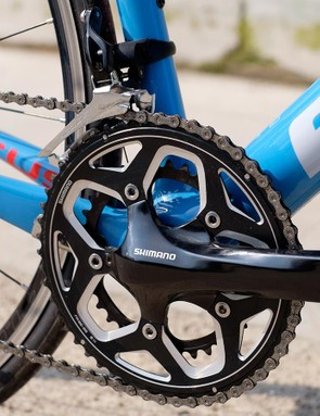The cost cutting Shimano RS500 crankset is specced with a pro-compact 52/36 ring combination