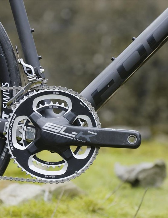 The FSA carbon crankset is a deviation from an all-Shimano drivetrain, but we weren't complaining