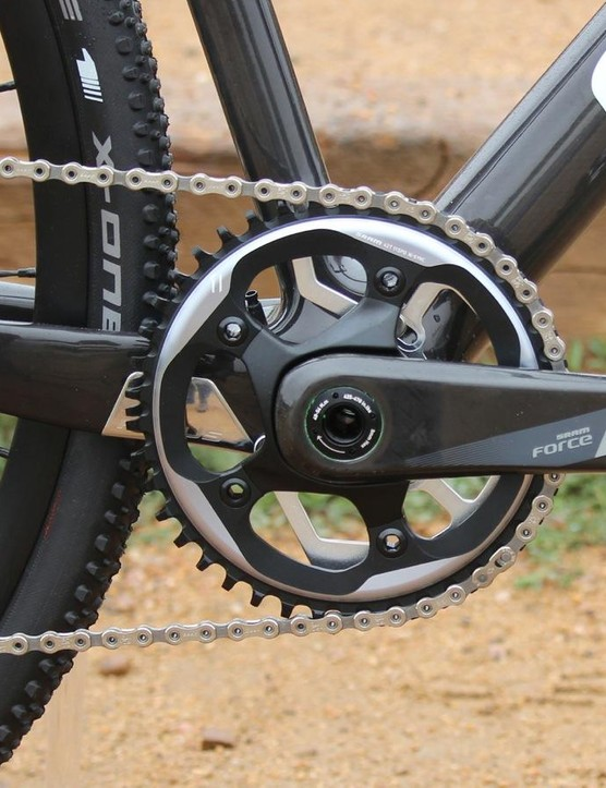 Although built as a 1x, the frame isn't 1x specific. You can see the front-derailleur cable guide peeking through the chainring