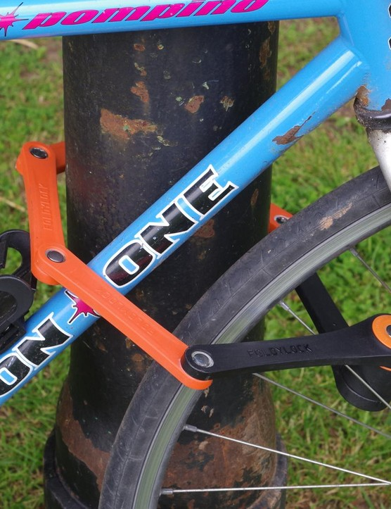 The Foldylock is long enough to lock both the frame and front wheel of your bike
