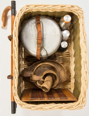 The Forager bike's basket, with flasks, chopping boards and more