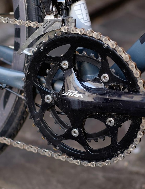 The nine-speed Sora groupset shifts capably