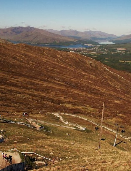 The view of the Fort William World Cup track from the top of the gondola — not bad!
